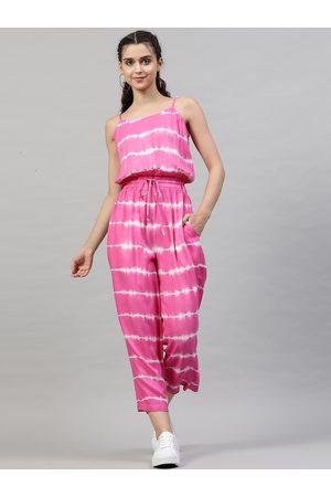 STREET 9 Women Pink & White Striped Basic Jumpsuit