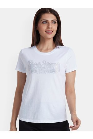 Pepe Jeans Women White Printed Round Neck T-shirt