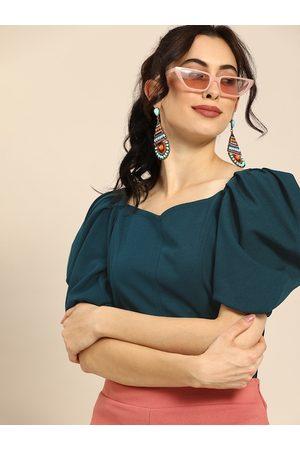 ATHENA Women Blue Solid Puff Sleeve Regular Top