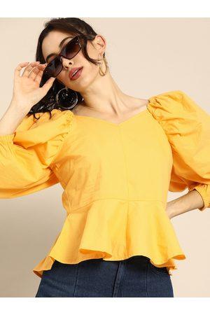 ATHENA Women Yellow Solid Puffed Sleeves Peplum Top