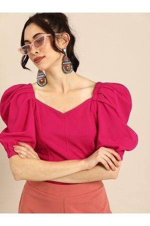 ATHENA Women Fuchsia Pink Solid Puff Sleeves Regular Top