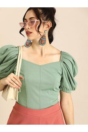 ATHENA Women Green Solid Puff Sleeves Regular Top