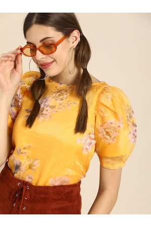 ATHENA Women Yellow Floral Printed Puff Sleeves Organza Regular Top