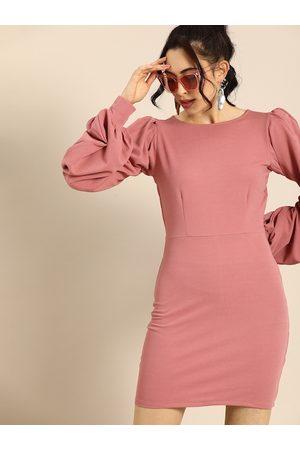 ATHENA Women Pink Solid Bodycon Dress
