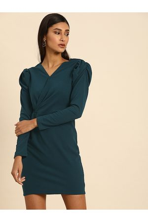 ATHENA Women Green Solid Bodycon Dress