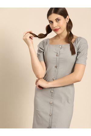 ATHENA Women Grey Solid Chambray Sheath Dress