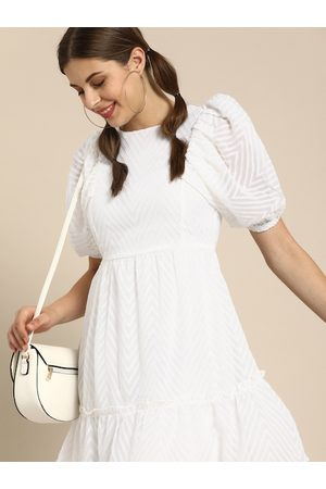 ATHENA Women White Self Design Fit and Flare Dress