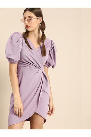 ATHENA Women Mauve Solid Wrap Dress