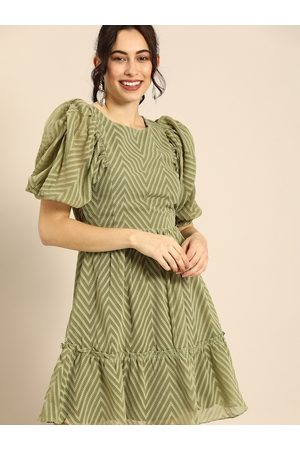 ATHENA Women Green Dobby Patterned Chevron A-Line Dress