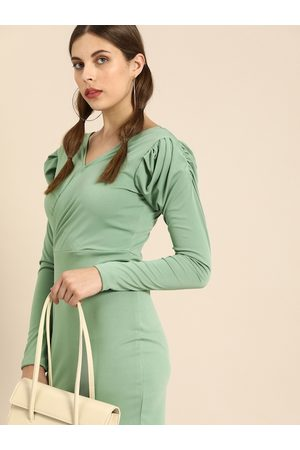 ATHENA Women Olive Green Solid Bodycon Dress