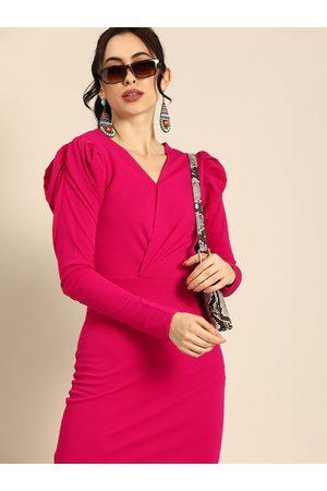 ATHENA Women Fuchsia Pink Solid Wrap Dress