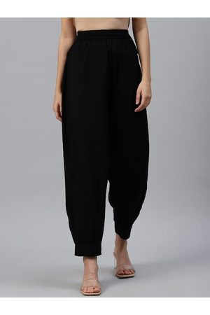 Varanga Women Black Loose Fit Solid Regular Trousers
