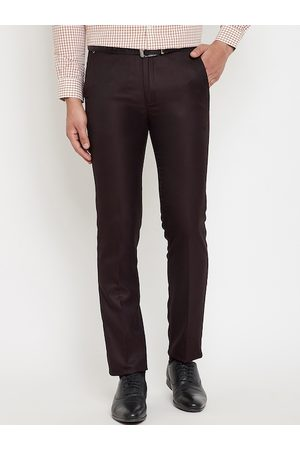 Canary London Men Brown Slim Fit Solid Formal Trousers
