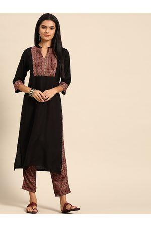 Anouk Women Black & Maroon Yoke Design Kurta with Trousers