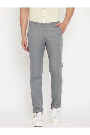 Canary London Men Grey Slim Fit Solid Regular Trousers