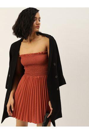 U&F Women Brown Self Design Fit and Flare Dress