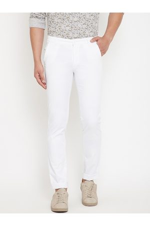 Canary London Men White Slim Fit Solid Regular Trousers