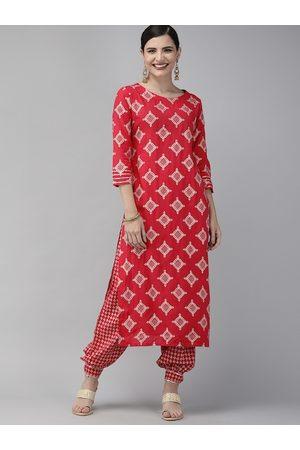 Indo Era Women Pink & White Printed Kurta with Salwar