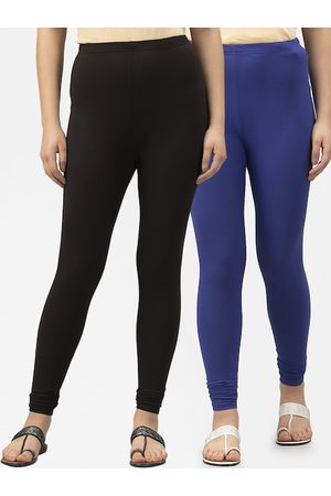 Style Quotient Women Pack Of 2 Solid Churidar-Length Leggings