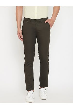 Canary London Men Olive Green Slim Fit Solid Regular Trousers