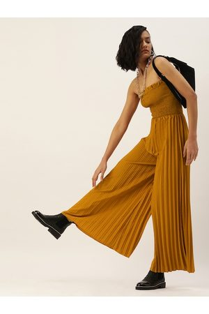 U&F Women Mustard Self Design Basic Jumpsuit