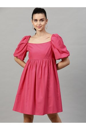STREET 9 Women Fuchsia Solid Fit and Flare Dress