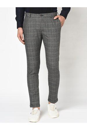 Blackberrys Men Black Skinny Fit Checked Formal Trousers