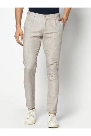 Blackberrys Men Beige Skinny Fit Checked Regular Trousers