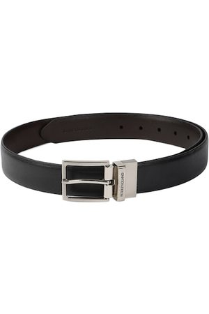 Peter England Men Black & Brown Textured Reversible Belt