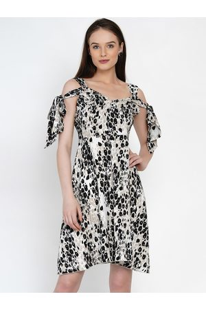 Texco Women Cream-Coloured Printed Fit and Flare Dress