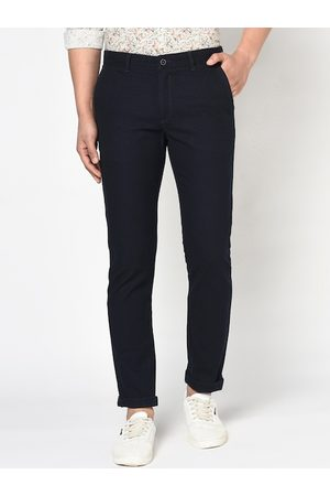 Blackberrys Men Navy Blue Slim Fit Solid Regular Trousers