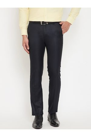 Canary London Men Navy Blue Slim Fit Solid Formal Trousers