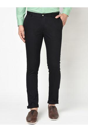 Blackberrys Men Black Skinny Fit Solid Regular Trousers