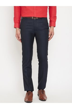 Canary London Men Navy Blue Slim Fit Self Design Formal Trousers