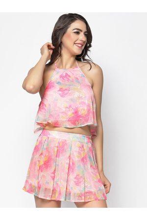 Sera Women Pink Printed A-Line Dress