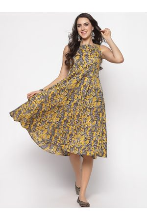 Sera Women Yellow Printed Fit and Flare Dress