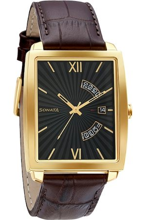 Sonata Men Grey & Brown Analogue Watch 7143YL02