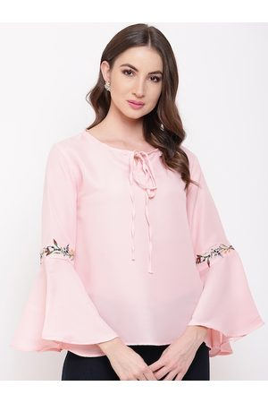 Mayra Pink Solid Tie-Up Neck Bell Sleeves Top