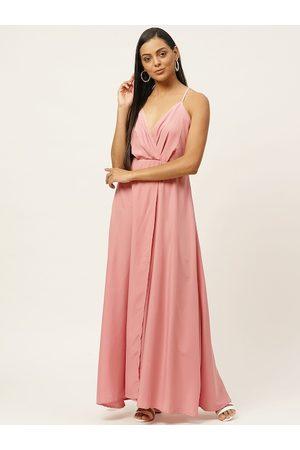 U&F Women Pink Solid Wrap Dress