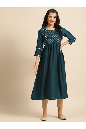 Varanga Women Teal Blue Yoke Design Kurta