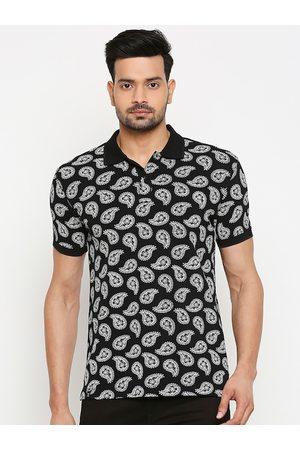 Mufti Men Black Printed Polo Collar T-shirt