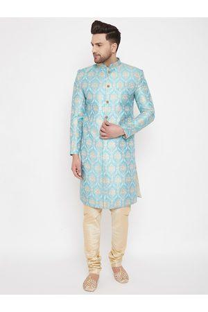 Vastramay Men Sea Green & Gold-Coloured Slim Fit Brocade Woven Design Sherwani Set