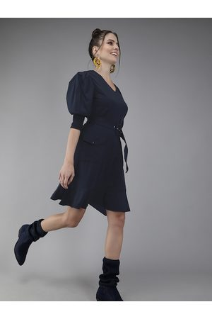 Rare Fashion Women Navy Blue Solid A-Line Dress with Pockets