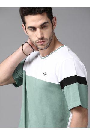 Roadster Men Green & White Pure Cotton Colourblocked Round Neck T-shirt
