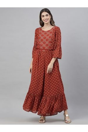 Global Desi Women Rust Red & White Printed Basic Jumpsuit