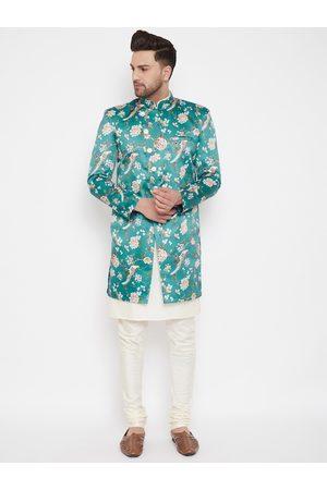 VASTRAMAY Men Teal Green & Cream-Coloured Slim Fit Printed Indowestern Sherwani Set