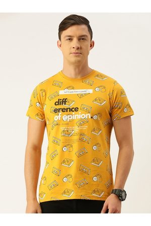 Difference of Opinion Men Mustard Yellow Printed Round Neck T-shirt