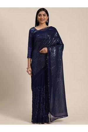 Mitera WomenNavy Blue Pure Georgette Embellished Saree