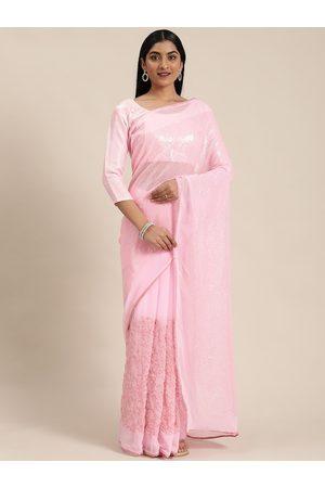 Mitera Women Pink Pure Georgette Embellished Saree