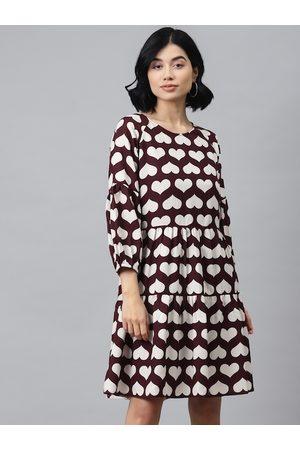SASSAFRAS Women Burgundy & White Heart Shaped Printed Tiered A-Line Dress